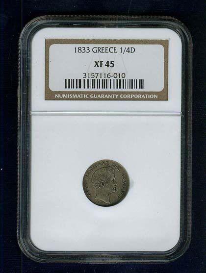 GREECE KINGDOM  1833  1/4 DRACHMA SILVER COIN,  CERTIFIED NGC XF45