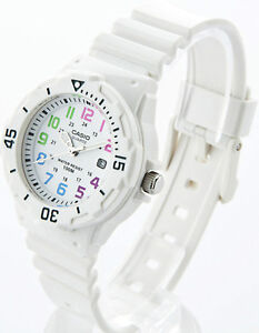 Latest Casio Womens Watch Analog White Rubber Band Sports Date 100M LRW-200H-7B