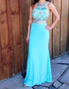 BLUE PROM DRESS TWO PIECE LIQUIDATION SALE