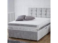 """Double 4""""6 Luxury Velvet Diamanté Bed Set"""