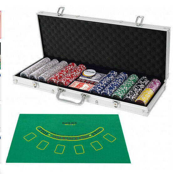 Poker Chips Set Texas Holdem Cards with 500 Jetton and Dice in Aluminum Case