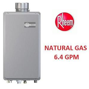 NEW RHEEM NATURAL GAS WATER HEATER - 117947101 - 6.4 GPM INDOOR TANKLESS WATER HEATER