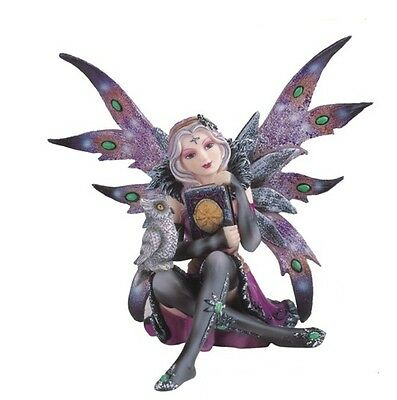 "6"" Inch Witch Fairy with an Owl and Black Book Statue Figurine Figure Fairies"