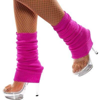 Damen 80er Jahre 1980er Jahre Gestrickt Kostüm Tanz Bein Wärmer Pink von Smiffys