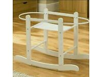 Kinder valley little gem moses basket rocking stand. White, walnut, country pine. Brand new in box .