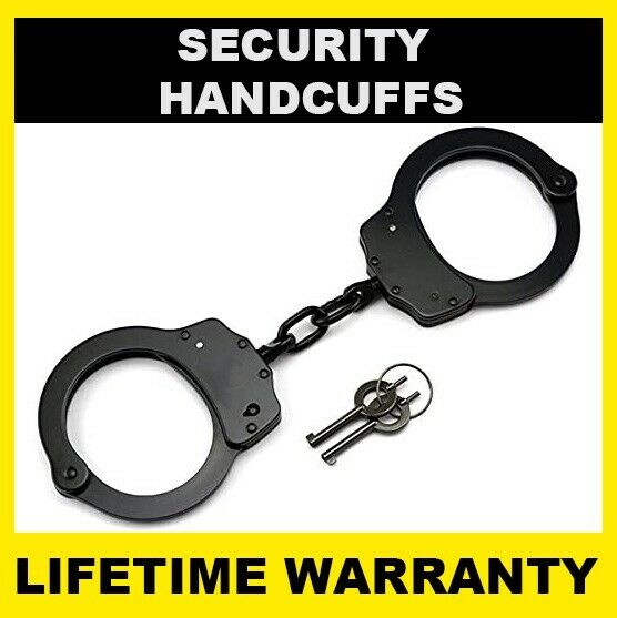 SECURITY Handcuffs Professional Double Lock Heavy Duty Metal Steel - BLACK