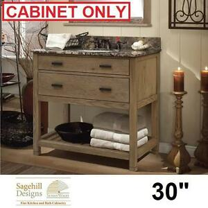 "NEW SD TOBY 30"" VANITY CABINET - 129106857 - SAGEHILL DESIGNS WEATHERED OAK HARDWOOD VANITIES CABINETS STORAGE BATH B..."
