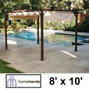 NEW* HOMETRENDS SHADE PERGOLA BEIGE RETRACTABLE - OUTDOOR LIVING PERGOLAS FURNITURE BACKYARD GAZEBO GAZEBOS 109834308