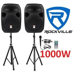 "NEW ROCKVILLE PA SPEAKERS 1000W 188805860 12"" POWERED BLUETOOTH MIC STANDS AND CABLES"