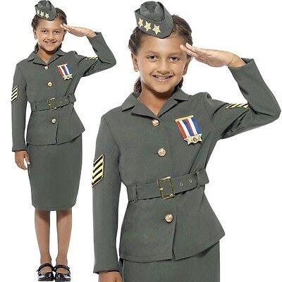 Kinder Armee-Offizier Kostüm Mädchen WW2 Armee Kostüm Uniform Neues von Smiffys