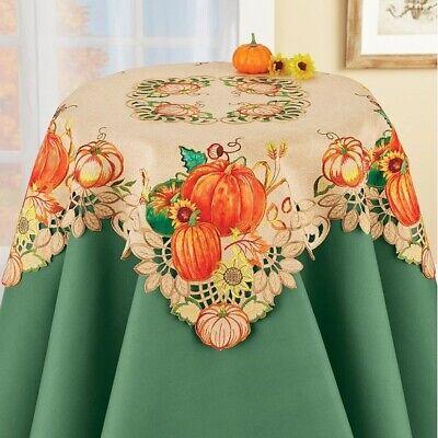 Fall Harvest Leaf Pumpkin Kitchen Tablecloth Topper Autumn Thanksgiving Decor