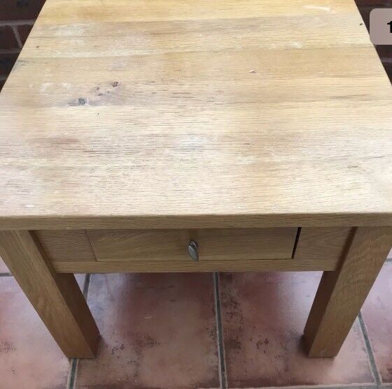 Solid oak side table with a draw
