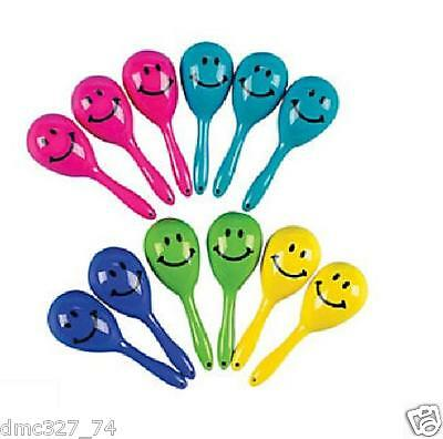 12 Birthday Fiesta Class Party Favors MINI Plastic Noise Maker SMILE MARACAS - Noise Maker Party Favors