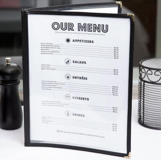 "50 PACK 8 1/2"" x 11"" Black Vinyl Two Page Pocket Clear Menu Cover Bar Restaurant"