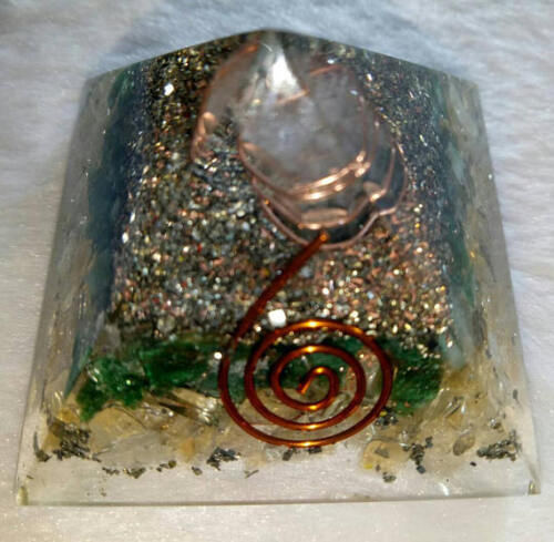 Prosperity Orgone Pyramid 50mm Citrine Green Aventurine Crystals Copper Pyrite