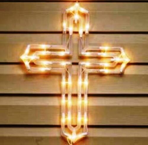 """NEW 20"""" Lighted Easter Cross Silhouette Light"""