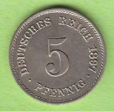 Kaiserreich 5 Pfennig 1897 G toll erhalten selten nswleipzig