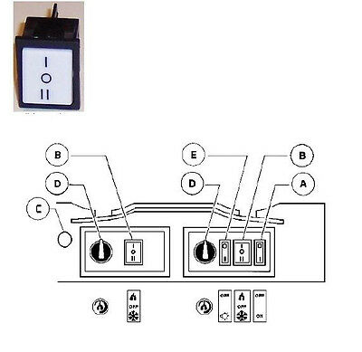 Ugolini On-off-on 3-position Switch 22x30 Mm