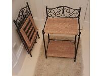 2 x Wicker and metal bed side table