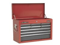 SEALEY TOPCHEST 9 DRAWER WITH BALL BEARING RUNNERS - RED/GREY