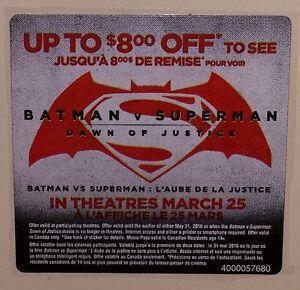 Batman v Superman Dawn of Justice $8 off your Movie Ticket Codes