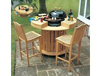 Teak Bengal Barbecue Trolley & Bar Stools