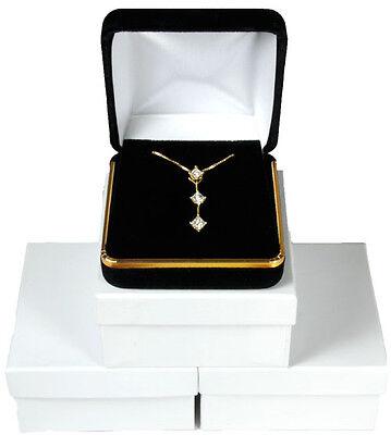3 Piece Black Velvet Necklace Earrings Jewelry Gift Box 2 5/8 X 2 5/8 X 1 3/8