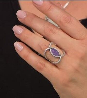 Jade of Yesteryear Marquise Lavender jade & CZ Sterling Negative Space Ring Sz 9