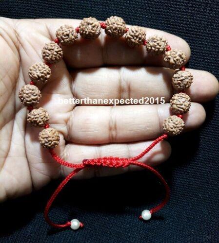 100% Original 5 Mukhi Rudraksh rudraksha bracelet rosary mala 14 beads- 8MM Size