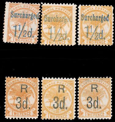 SAMOA 1895 SURCHARGE GROUP MINT 24a 24b 24b shade 25 25b 25 shade SG #73 78 75 7