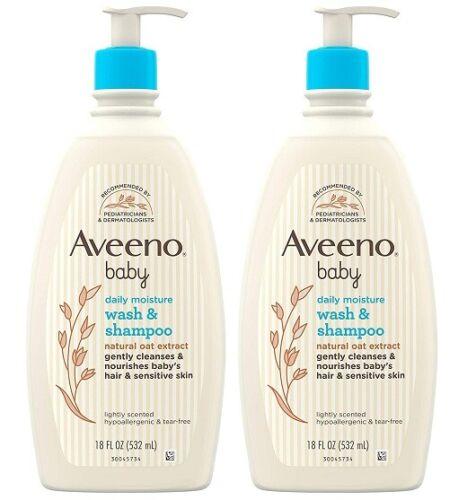 Aveeno Baby Wash  Shampoo Lightly Scented Hypoallergenic 18 fl oz (PACK OF 2)