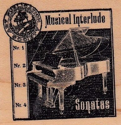 """sonatas grand piano club scrap  Wood Mounted Rubber Stamp 2 x 2""""  Free Shipping"""
