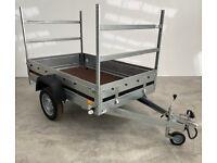 Car trailer with 2 ladder racks