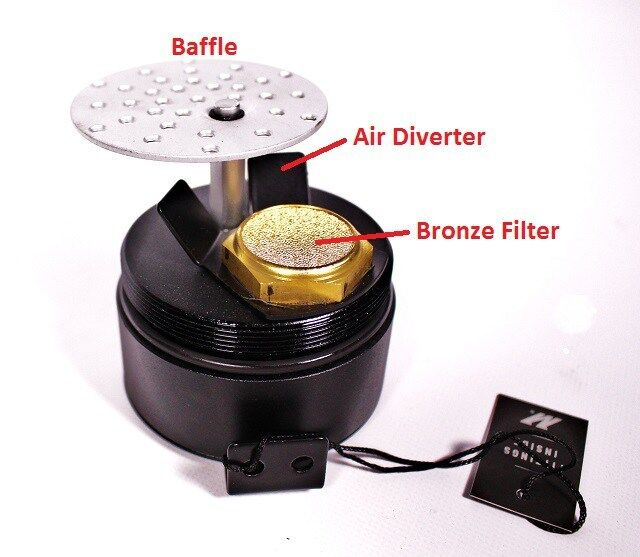 The Mishimoto baffled oil-catch can contains air diverters, a baffle, and 50 micron bronze filter.