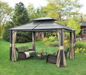 12x14  metal gazebo with two curtain sets
