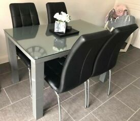 Gloss dark grey finished oak dining table with removable glass top (chairs not included) £200 ONO