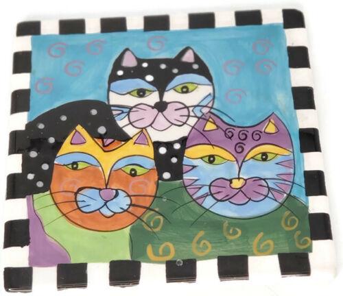 """Milson & Louis Vtg Cats Hand Painted Collectible 6"""" x 6"""" Ceramic Tile Trivet"""