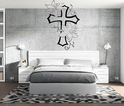 Christian Cross Living Flowers Wall Decal Family Room Home Decor Sticker Mural