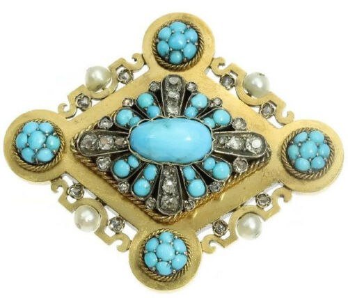 1.63ct ROSE CUT DIAMOND TURQUOISE PEARL VICTORIAN LOOK 925 SILVER BROOCH PIN