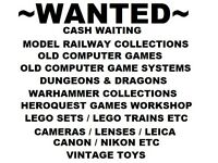 Wanted Model Railway / Warhammer / Lego sets / Computer games / Camera Collections