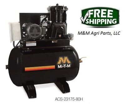 Mitm Industrial 80 Gallon Air Compressor Two Stage Electric 230v 23.0a 1 Phase
