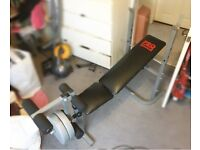 PRO POWER Bench, barbell, weights and dumbbells HOME GYM SET
