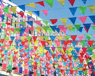 Rainbow Party Banner (10m Party Rainbow Bunting Large Kids Birthday Outdoor Triangular Flags)