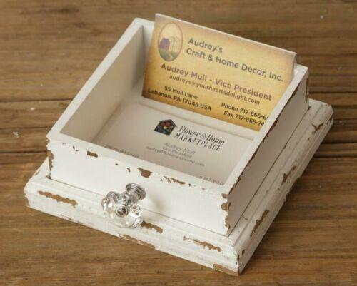 Shabby Chippy White BUSINESS CARD HOLDER Drawer Vintage Farmhouse Chic Cottage