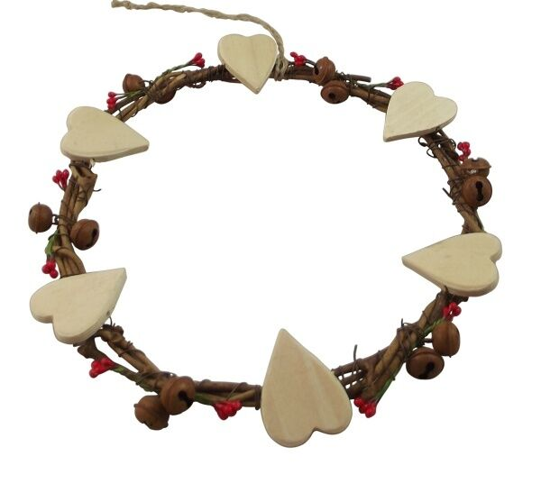 Gisela Graham Twig Wreath with Hearts and Bells Decoration Rustic Home Accessory