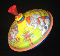 Vintage Tin Toy Spinning Top with  Elephant Theme