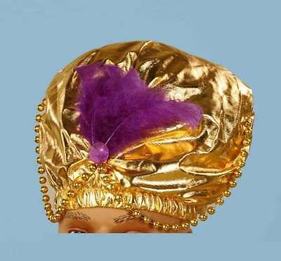 Turban Gold Metallic Genie Costume Headpiece With Beads & Feathers One Size](Genie Headpiece)