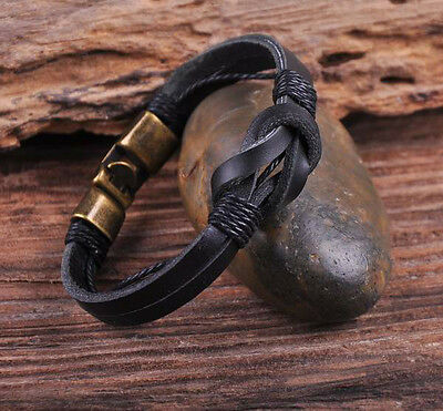 S510 Retro Classic Genuine Leather Braided Bracelet Wristband Men's Cuff Black B