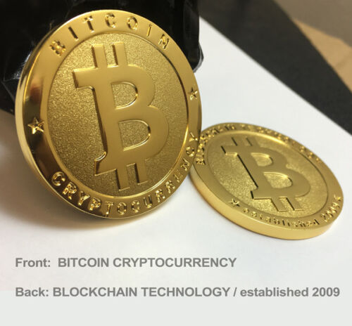 2 - BRAND NEW Physical Real 1oz BITCOIN Gold Plated 38mm Collectible BTC Coin