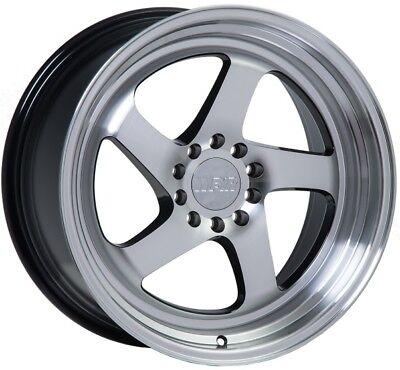 F1R F28 18X8.5 5X114.3/120 +35 Machine Black Wheel Fits Rsx Tsx Civic Accord Wrx
